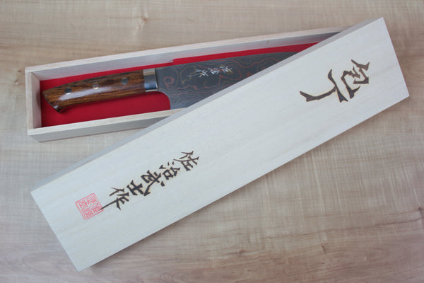 Takeshi Saji Bunka Master Saji Rainbow Damascus Series Bunka 180mm (7 inch, Ironwood Handle)