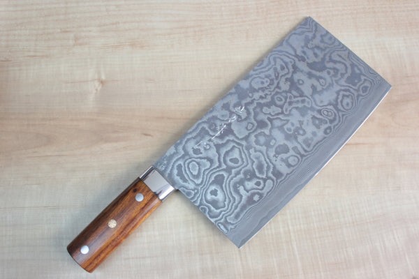 Takeshi Saji Chinese Cleaver Takeshi Saji R-2 Custom Damascus Chinese Cleaver (Ironwood Handle)