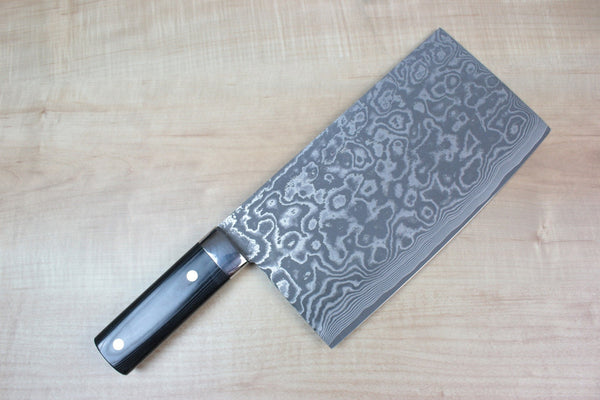Takeshi Saji VG-10 Custom Damascus Chinese Cleaver (Black Linen Micarta Handle) - JapaneseChefsKnife.Com