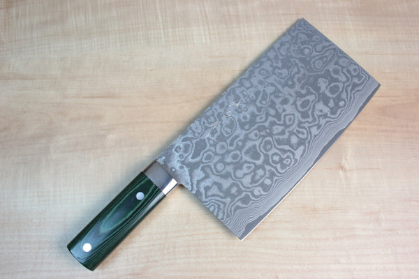 Takeshi Saji VG-10 Custom Damascus Chinese Cleaver (Green Linen Micarta Handle) - JapaneseChefsKnife.Com