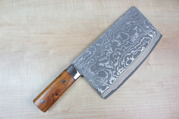 Takeshi Saji VG-10 Custom Damascus Chinese Cleaver (Ironwood  Handle) - JapaneseChefsKnife.Com