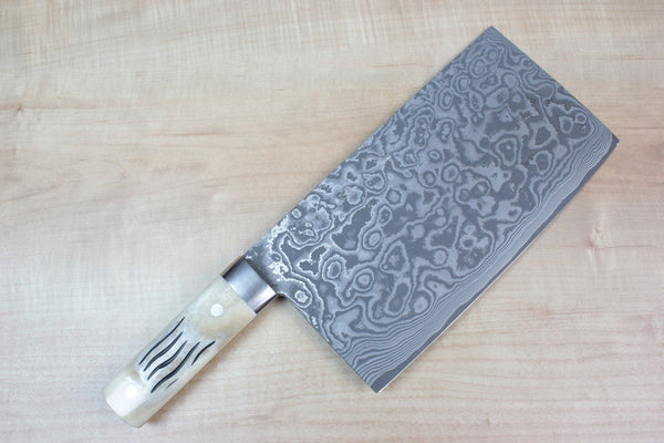 Takeshi Saji VG-10 Custom Damascus Chinese Cleaver (Stag Bone Handle) - JapaneseChefsKnife.Com