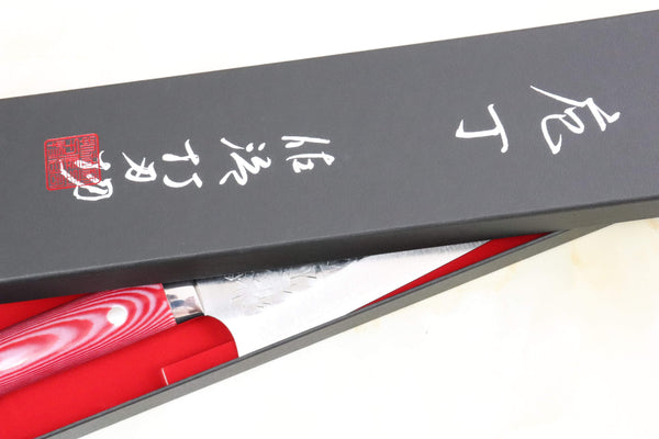 Takeshi Saji SRS-13 Custom Series Gyuto (210mm and 240mm, 2 Sizes, Red & White Linen Micarta Handle) - JapaneseChefsKnife.Com