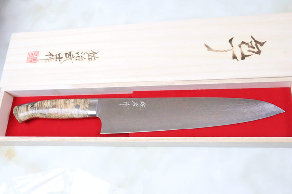 Takeshi Saji Gyuto SMT-33 Gyuto 240mm (9.4 inch) Takeshi Saji SUMIT ― Limited Edition Custom Series SMT-33 VG-10 Rainbow Damascus Gyuto 240mm (9.4 inch)