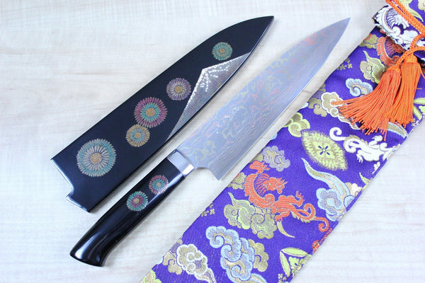 "Takeshi Saji Urushi & Makie Series ""Hanabi Motif"" Gyuto (180mm to 240mm, 3 Sizes) - JapaneseChefsKnife.Com"