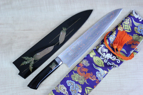 "Takeshi Saji Gyuto Takeshi Saji Urushi & Makie Series ""Japanese Classic Vegetable Motif"" Gyuto 270mm (10.6inch)"