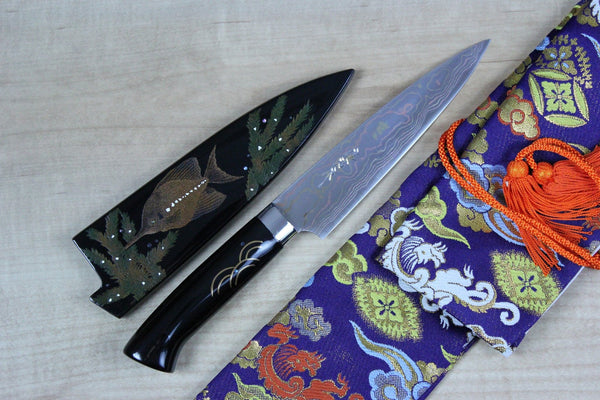 "Takeshi Saji Urushi & Makie Series ""Tropical Fish Motif"" Gyuto 150mm (5.9inch) - JapaneseChefsKnife.Com"