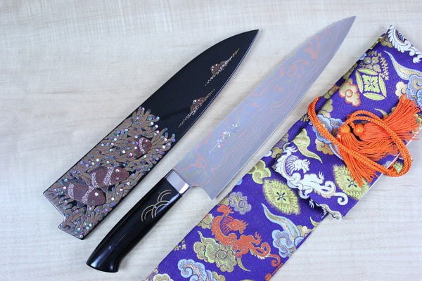 "Takeshi Saji Gyuto Takeshi Saji Urushi & Makie Series ""Tropical Fish Motif"" Gyuto 240mm (9.4inch)"