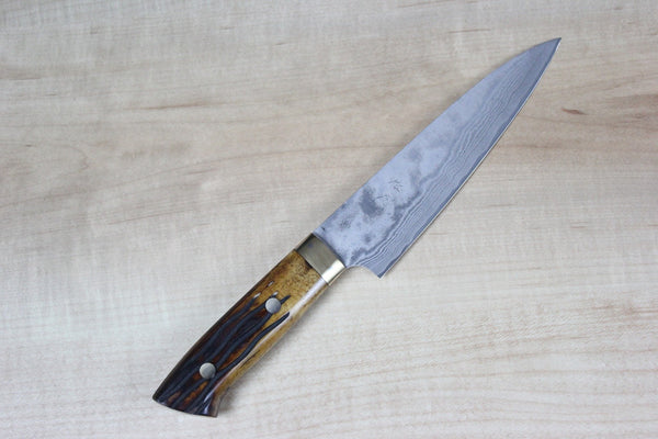 Takeshi Saji VG-10 Custom Damascus Wild Series Gyuto (135mm and 150mm, Stag Bone Handle) - JapaneseChefsKnife.Com