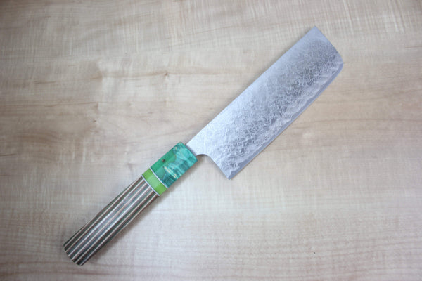 Custom Limited Edition, Takeshi Saji R-2 Damascus Nakiri 165mm (6.4 Inch, STCL-47) - JapaneseChefsKnife.Com