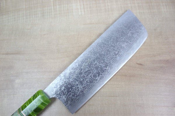 Custom Limited Edition, Takeshi Saji R-2 Damascus Nakiri 165mm (6.4 Inch, STCL-48) - JapaneseChefsKnife.Com