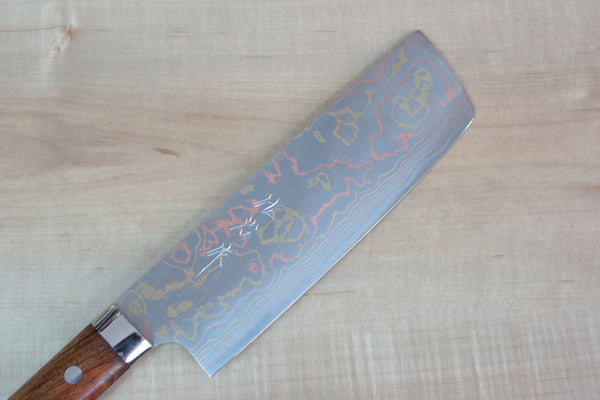 Master Saji Rainbow Damascus Series Nakiri 165mm (6.4 inch, Ironwood Handle) - JapaneseChefsKnife.Com
