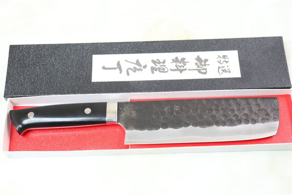 Takeshi Saji Aogami Super Custom Series Nakiri 165mm (6.4 inch, Linen Micarta Handle) - JapaneseChefsKnife.Com