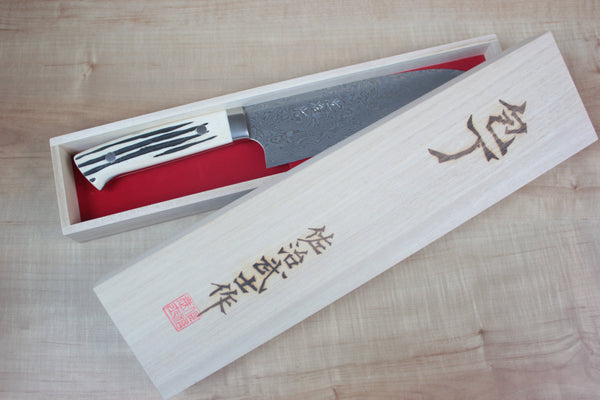 Takeshi Saji R-2 Custom Black Damascus Wild Series Nakiri 165mm (6.4 inch, Stag Bone Handle) - JapaneseChefsKnife.Com