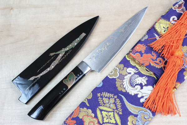 "Takeshi Saji Petty Takeshi Saji Urushi & Makie Series ""Japanese Classic Vegetable Motif"" Petty 135mm (5.3inch)"