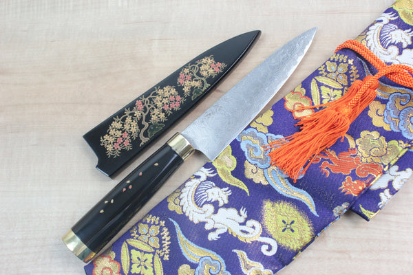 "Takeshi Saji Petty Takeshi Saji Urushi & Makie Series ""Sakura Motif"" R-2 Custom Damascus STU-28 Petty 135mm (5.3 Inch)"