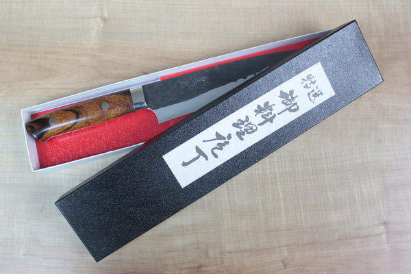 Takeshi Saji Aogami Super Custom Series Santoku 180mm (7 inch, Ironwood Handle) - JapaneseChefsKnife.Com