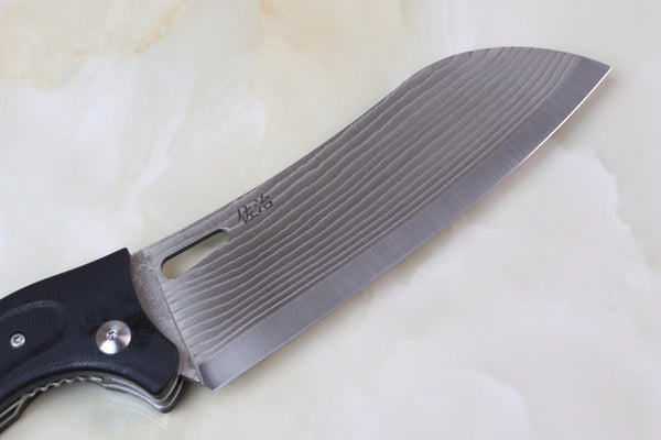 Takeshi Saji R-2 Damascus Folding Santoku Knife  (Black G-10 Handle, TS-110) - JapaneseChefsKnife.Com