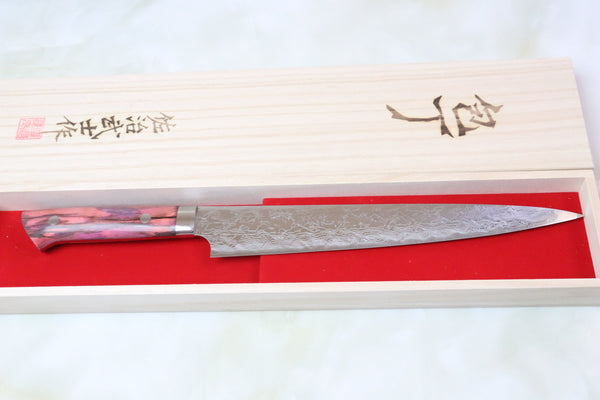 Takeshi Saji SUMIT ― Limited Edition Custom Series  SMT-7 R-2 Custom Damascus Sujihiki 240mm (Fancy Pink Stabilized Wood Handle) - JapaneseChefsKnife.Com