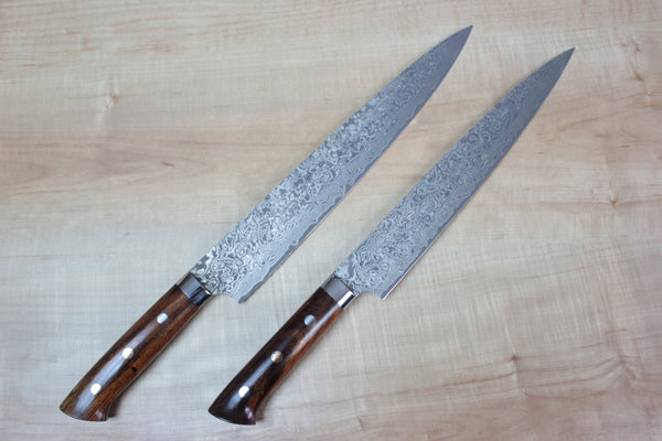 Takeshi Saji R-2 Custom Black Damascus Wild Series Sujihiki (240mm and 270mm, Ironwood Handle) - JapaneseChefsKnife.Com