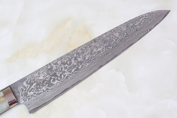 Takeshi Saji SUMIT ― Limited Edition Custom Series  SMT-9 R-2 Custom Damascus Gyuto 270mm (White Islands Hybrid Wood Handle) - JapaneseChefsKnife.Com
