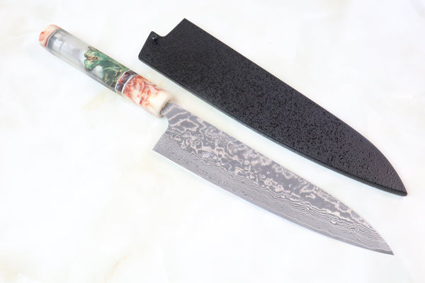 Custom Limited Edition, Takeshi Saji R-2 Damascus Wa Series Wa Gyuto 210mm (8.2 Inch, STCL-93) - JapaneseChefsKnife.Com