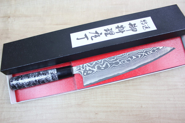 Takeshi Saji VG-10 Custom Damascus Wa Gyuto 210mm (8.2 inch, Unique Lacquered Handle, ST-A) - JapaneseChefsKnife.Com