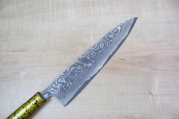 Takeshi Saji VG-10 Custom Damascus Wa Gyuto 210mm (8.2 inch, Unique Lacquered Handle, ST-B) - JapaneseChefsKnife.Com
