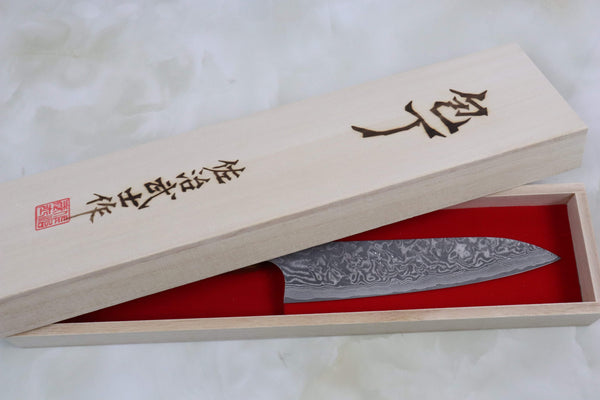 Custom Limited Edition, Takeshi Saji R-2 Black Damascus Wa Petty 150mm (5.9 Inch, STCL-83) - JapaneseChefsKnife.Com