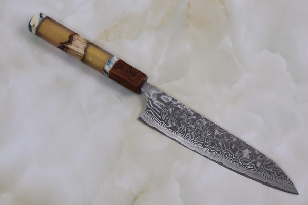 Custom Limited Edition, Takeshi Saji R-2 Black Damascus Wa Petty 150mm (5.9 Inch, STCL-84) - JapaneseChefsKnife.Com