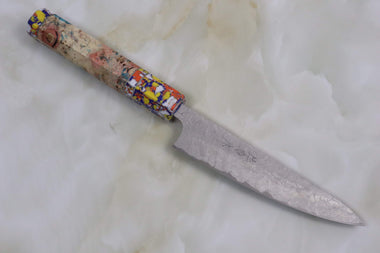 Custom Limited Edition, Takeshi Saji R-2 Damascus Wa Petty 135mm (5.3 Inch, STCL-74) - JapaneseChefsKnife.Com