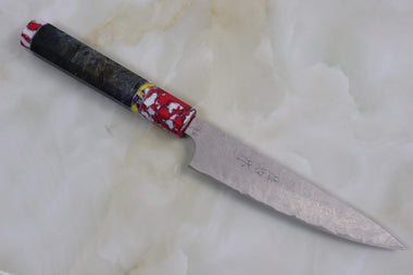 Custom Limited Edition, Takeshi Saji R-2 Damascus Wa Petty 135mm (5.3 Inch, STCL-77) - JapaneseChefsKnife.Com