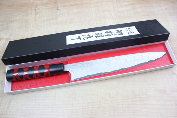 Takeshi Saji VG-10 Custom Damascus Wa Sujihiki 240mm (9.4 inch, Unique Lacquered Handle, ST-E) - JapaneseChefsKnife.Com