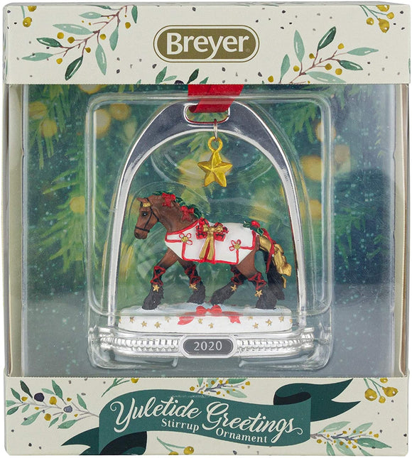 Breyer Horses 2020 Holiday Collection | Stirrup Ornament - Yuletide Greetings | Model #700321 Stirrup Ornament - Yuletide Greetings