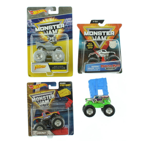 Lot of 4 Hot Wheels Monster Jam 1:64 Trucks Bundle (Opened/Package Damage)