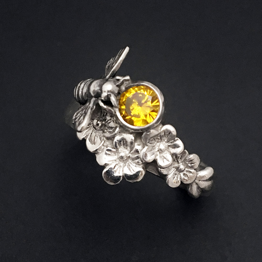 Sterling Silver Bee Ring with Flowers, Honeybee Ring, Save the Bees Jewelry - Mountain Metalcraft