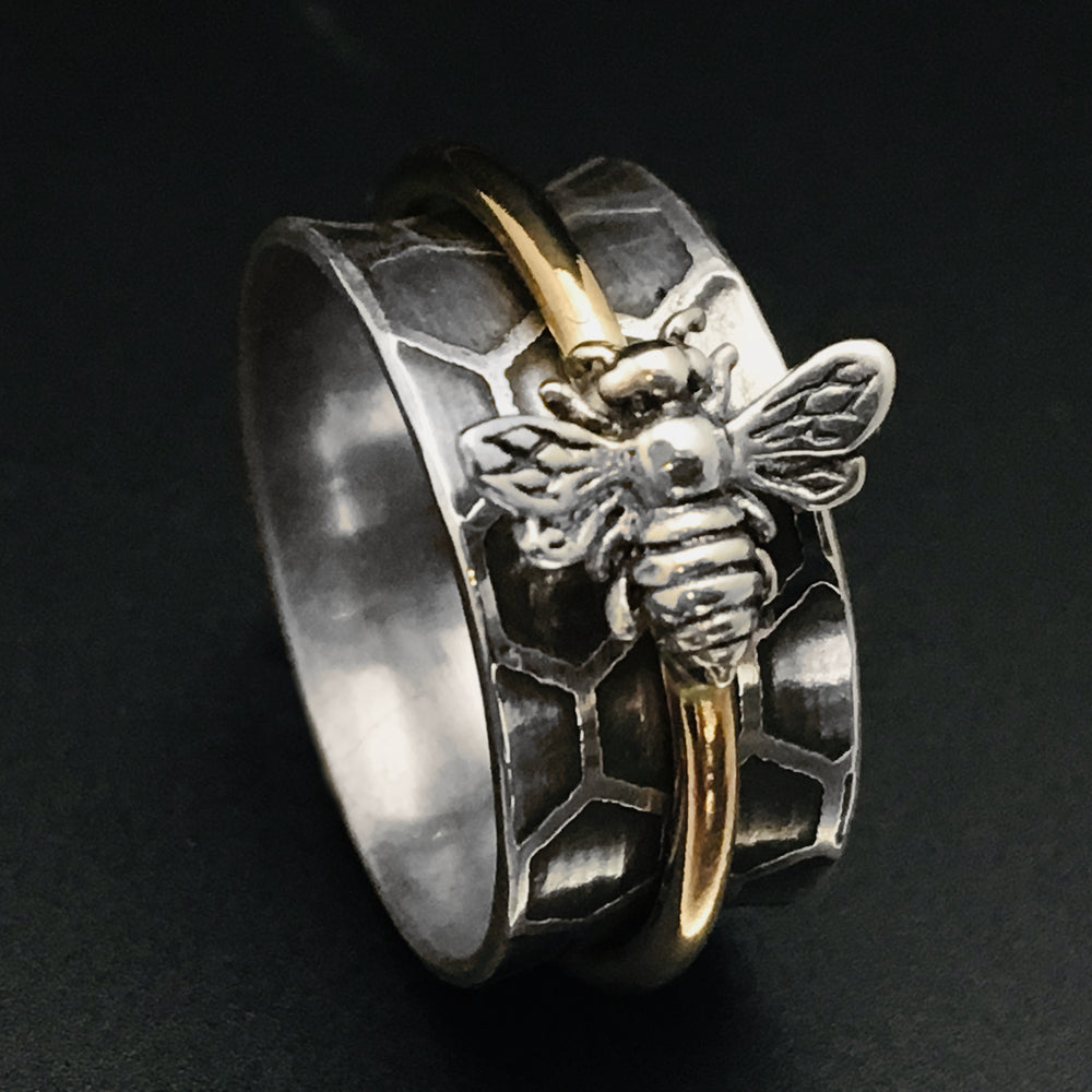 Bee Spinner Ring, Bee Ring, Save the Bees Jewelry - Mountain Metalcraft
