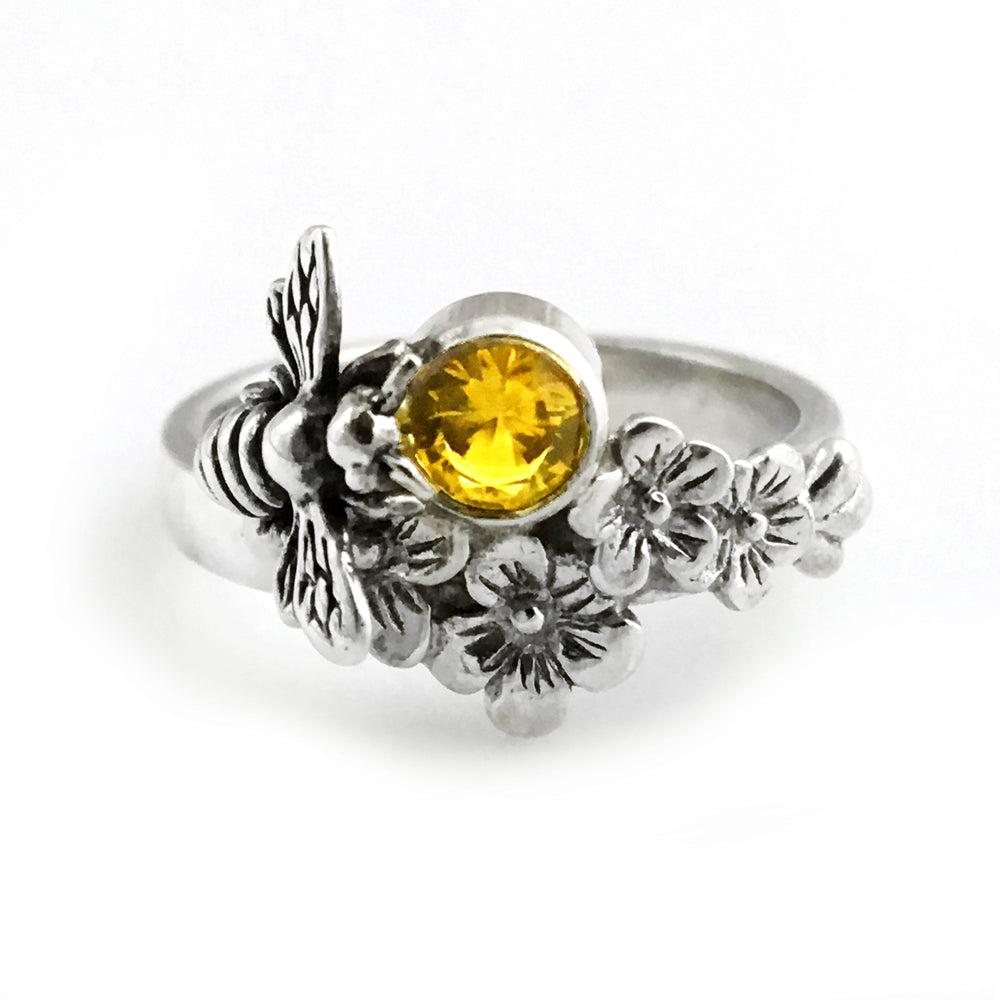 Sterling Silver Bee Ring with Flowers, Honeybee Ring, Save the Bees Jewelry
