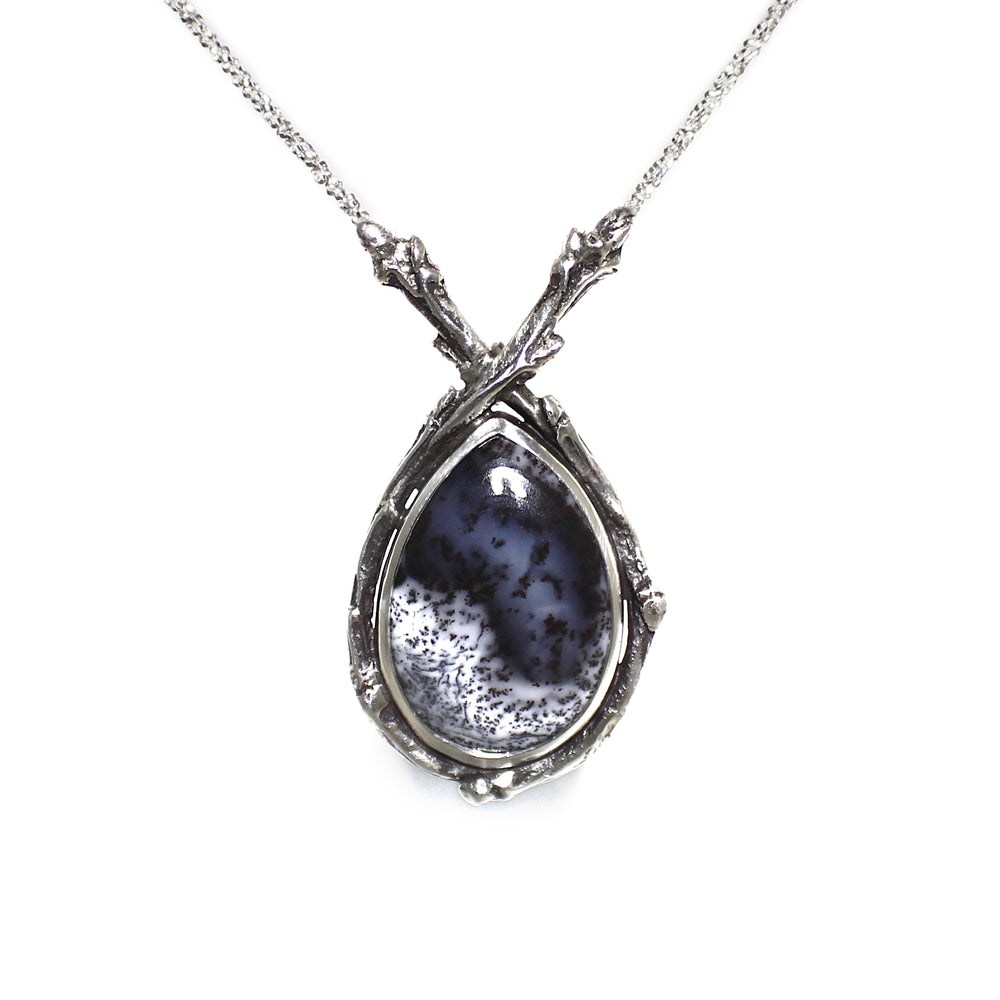 Dendritic Opal Twig Necklace