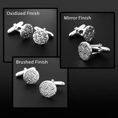 Sterling Silver Diamond Plate Cufflinks for Groomsmen or Dad - Mountain Metalcraft
