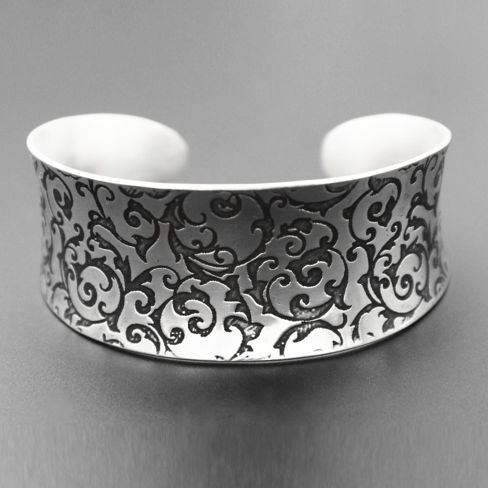 Etched Sterling Silver Cuff Bracelet with Elegant Scroll Pattern - Mountain Metalcraft