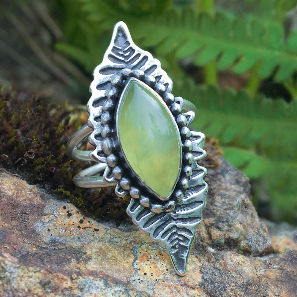 Fern Ring, Etched Sterling Silver Ring with Prehnite, Nature Inspired - Mountain Metalcraft