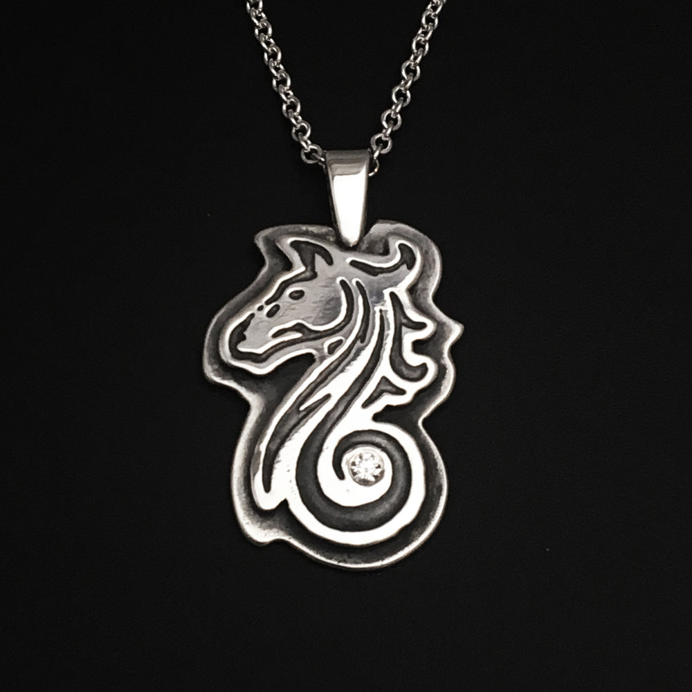 Sterling Silver Horse Necklace, Swirly Silver Horse Pendant, Horse Lover Jewelry - Mountain Metalcraft