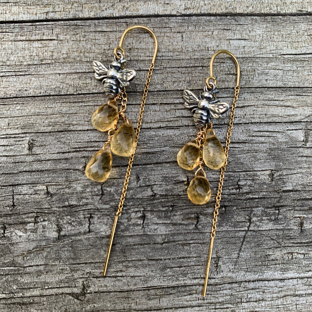 Honey Droplet Bee Earrings
