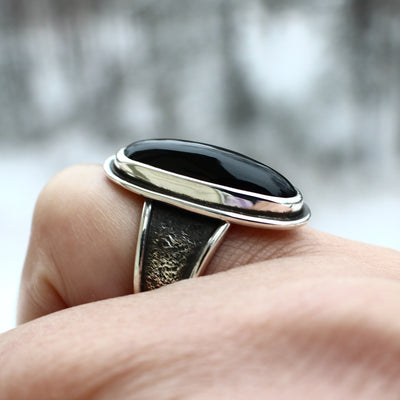 Black Onyx Rose Ring