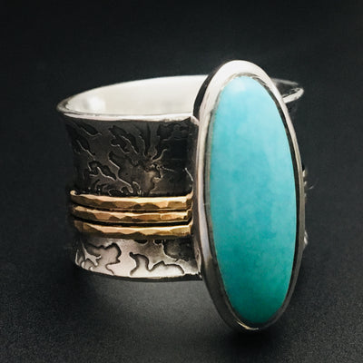 Sterling Silver, Gold, and Turquoise Spinner Ring - Mountain Metalcraft