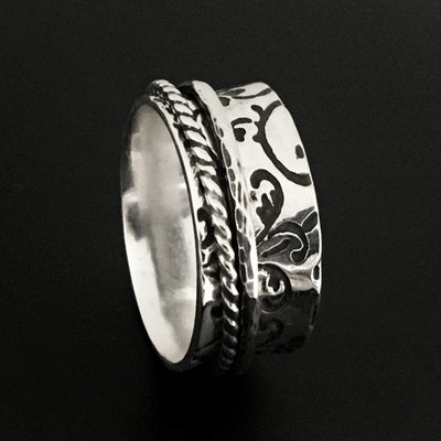 Sterling Silver Spinner Ring, Worry Ring, Fidget Ring with flower pattern - Mountain Metalcraft