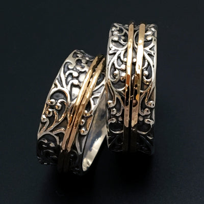 Sterling Silver Swirly Spinner Ring with Two Hammered Gold Spinners - Mountain Metalcraft