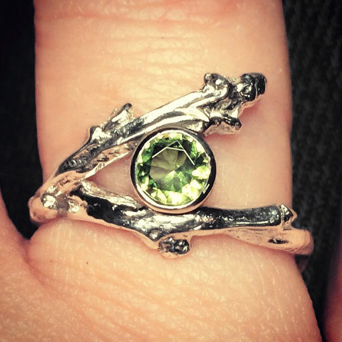 Sterling Silver Twig Ring with Birthstone - Mountain Metalcraft