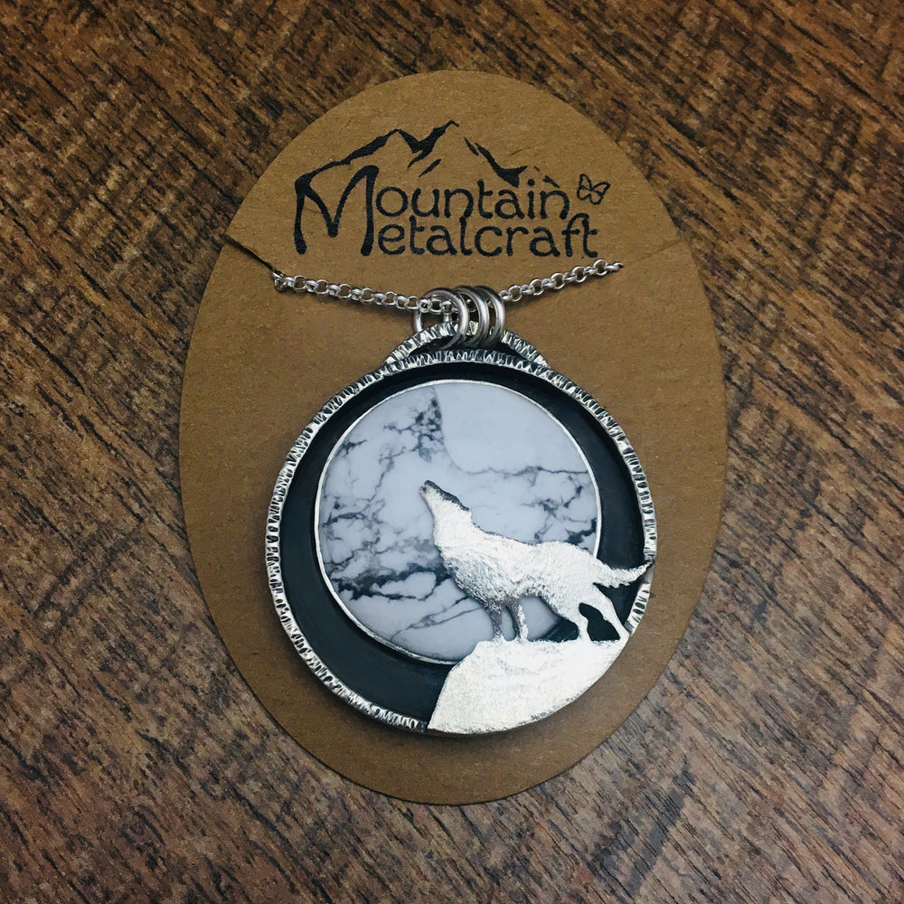 Howling Wolf Pendant Necklace, Wolf Jewelry, Wolf Necklace - Mountain Metalcraft